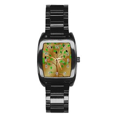Tree Root Leaves Contour Outlines Stainless Steel Barrel Watch by Simbadda