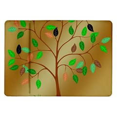 Tree Root Leaves Contour Outlines Samsung Galaxy Tab 10 1  P7500 Flip Case by Simbadda
