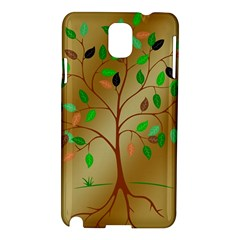 Tree Root Leaves Contour Outlines Samsung Galaxy Note 3 N9005 Hardshell Case by Simbadda