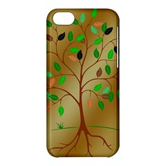 Tree Root Leaves Contour Outlines Apple Iphone 5c Hardshell Case by Simbadda