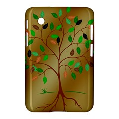 Tree Root Leaves Contour Outlines Samsung Galaxy Tab 2 (7 ) P3100 Hardshell Case  by Simbadda