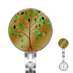 Tree Root Leaves Contour Outlines Stainless Steel Nurses Watch by Simbadda