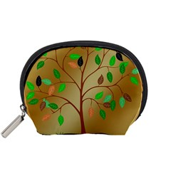 Tree Root Leaves Contour Outlines Accessory Pouches (small)  by Simbadda