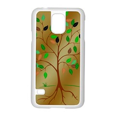 Tree Root Leaves Contour Outlines Samsung Galaxy S5 Case (white) by Simbadda