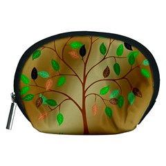 Tree Root Leaves Contour Outlines Accessory Pouches (medium)  by Simbadda