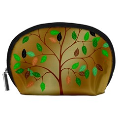Tree Root Leaves Contour Outlines Accessory Pouches (large)  by Simbadda