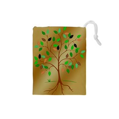 Tree Root Leaves Contour Outlines Drawstring Pouches (small)  by Simbadda