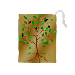 Tree Root Leaves Contour Outlines Drawstring Pouches (medium)  by Simbadda