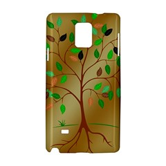 Tree Root Leaves Contour Outlines Samsung Galaxy Note 4 Hardshell Case by Simbadda