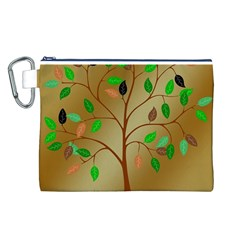 Tree Root Leaves Contour Outlines Canvas Cosmetic Bag (l) by Simbadda