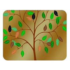 Tree Root Leaves Contour Outlines Double Sided Flano Blanket (large)  by Simbadda