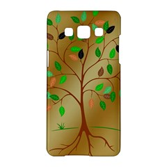 Tree Root Leaves Contour Outlines Samsung Galaxy A5 Hardshell Case  by Simbadda