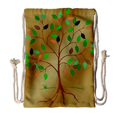 Tree Root Leaves Contour Outlines Drawstring Bag (large) by Simbadda