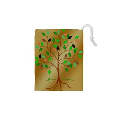 Tree Root Leaves Contour Outlines Drawstring Pouches (xs)  by Simbadda