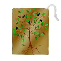 Tree Root Leaves Contour Outlines Drawstring Pouches (extra Large) by Simbadda