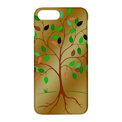 Tree Root Leaves Contour Outlines Apple Iphone 7 Plus Hardshell Case by Simbadda