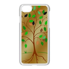 Tree Root Leaves Contour Outlines Apple Iphone 7 Seamless Case (white) by Simbadda