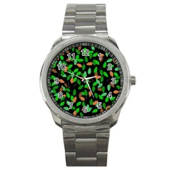 Leaves True Leaves Autumn Green Sport Metal Watch by Simbadda