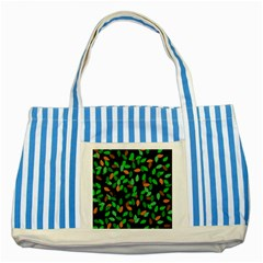 Leaves True Leaves Autumn Green Striped Blue Tote Bag by Simbadda