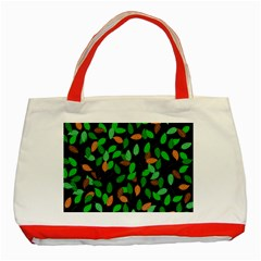 Leaves True Leaves Autumn Green Classic Tote Bag (red) by Simbadda