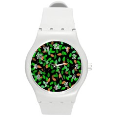 Leaves True Leaves Autumn Green Round Plastic Sport Watch (m) by Simbadda