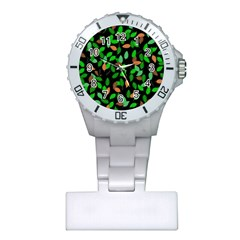 Leaves True Leaves Autumn Green Plastic Nurses Watch by Simbadda