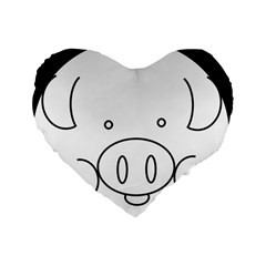 Pig Logo Standard 16  Premium Heart Shape Cushions by Simbadda