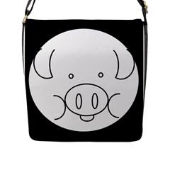 Pig Logo Flap Messenger Bag (l)  by Simbadda