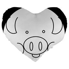 Pig Logo Large 19  Premium Flano Heart Shape Cushions by Simbadda