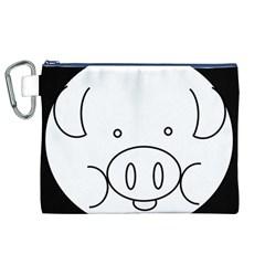 Pig Logo Canvas Cosmetic Bag (xl) by Simbadda