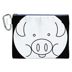Pig Logo Canvas Cosmetic Bag (xxl) by Simbadda