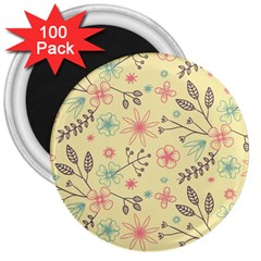 Seamless Spring Flowers Patterns 3  Magnets (100 Pack) by TastefulDesigns