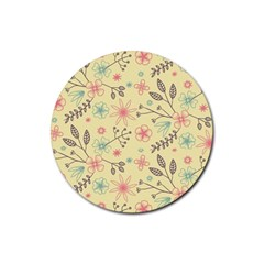 Seamless Spring Flowers Patterns Rubber Coaster (round)  by TastefulDesigns