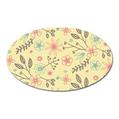 Seamless Spring Flowers Patterns Oval Magnet by TastefulDesigns