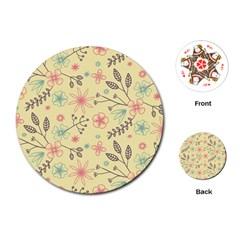 Seamless Spring Flowers Patterns Playing Cards (round)  by TastefulDesigns