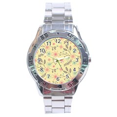 Seamless Spring Flowers Patterns Stainless Steel Analogue Watch by TastefulDesigns
