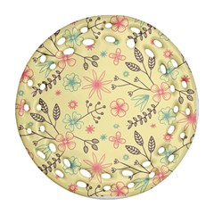 Seamless Spring Flowers Patterns Ornament (round Filigree) by TastefulDesigns