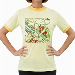 Paris Map Women s Fitted Ringer T Shirts by Simbadda