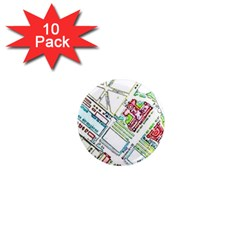 Paris Map 1  Mini Magnet (10 Pack)  by Simbadda