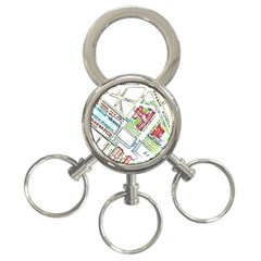 Paris Map 3 Ring Key Chains by Simbadda