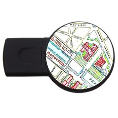 Paris Map Usb Flash Drive Round (2 Gb) by Simbadda