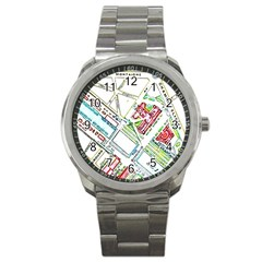Paris Map Sport Metal Watch by Simbadda