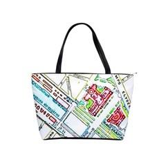 Paris Map Shoulder Handbags by Simbadda