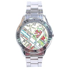 Paris Map Stainless Steel Analogue Watch by Simbadda