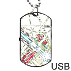 Paris Map Dog Tag Usb Flash (two Sides) by Simbadda