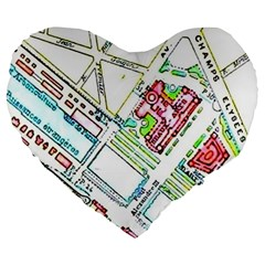 Paris Map Large 19  Premium Heart Shape Cushions by Simbadda