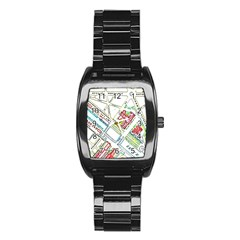 Paris Map Stainless Steel Barrel Watch by Simbadda