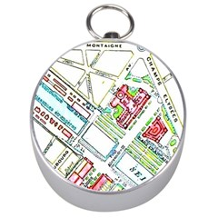 Paris Map Silver Compasses by Simbadda