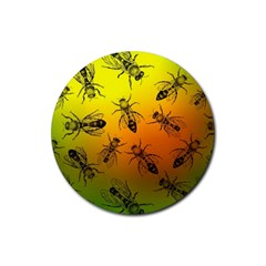 Insect Pattern Rubber Coaster (round)  by Simbadda