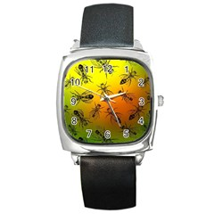 Insect Pattern Square Metal Watch by Simbadda